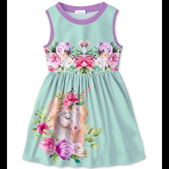🦄 Lavender & Turquoise Green Unicorn Betsy Dress